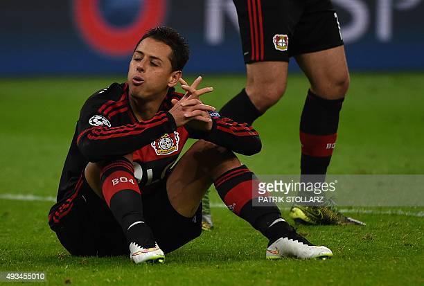Leverkusen's Mexican striker Javier Hernandez reacts during the Group E firstleg UEFA Champions League football match Bayer Leverkusen vs AS Roma in...