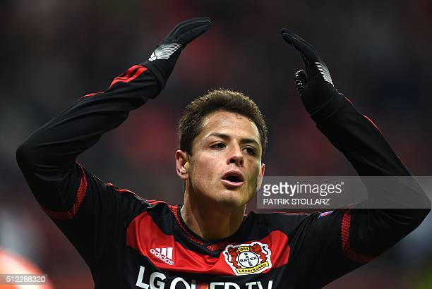 Leverkusen's Mexican striker Javier Hernandez reacts during the UEFA Europa League Round of 32 match football between Bayer Leverkusen and Sporting...