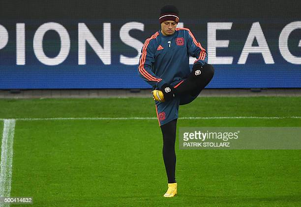 Leverkusen's Mexican striker Javier Hernandez warms up during a training session on the eve of the Group E secondleg UEFA Champions League football...