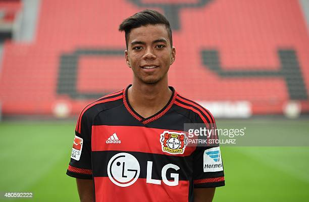 Leverkusen's midfielder Benjamin Henrichs poses during the team presentation of the German first division Bundesliga team Bayer 04 Leverkusen at the...