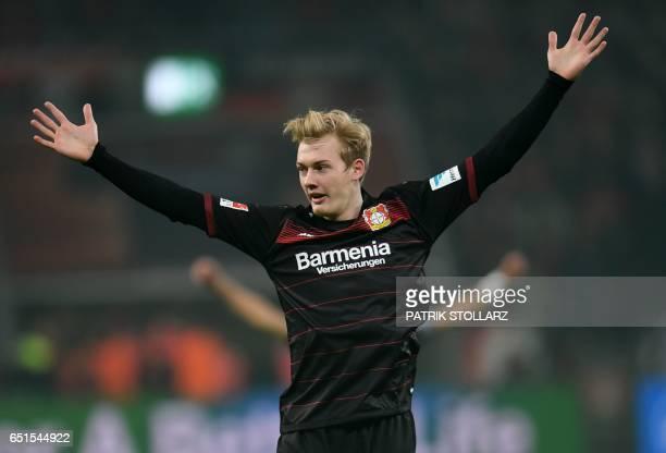 Leverkusen's midfielder Julian Brandt celebrates the first goal for Leverkusen during the German First division Bundesliga football match Bayer...