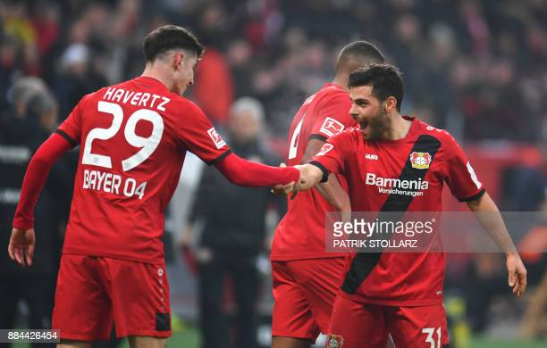 Leverkusen´s midfielder Kai Havertz and Leverkusen´s striker Kevin Volland celebrate during the German First division Bundesliga football match Bayer...