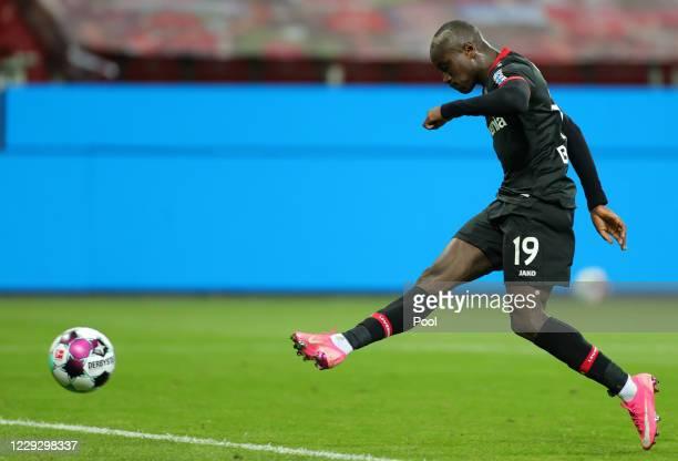 Leverkusen's Moussa Diaby scores the 3-1 lead during the Bundesliga match between Bayer 04 Leverkusen and FC Augsburg at BayArena on October 26, 2020...