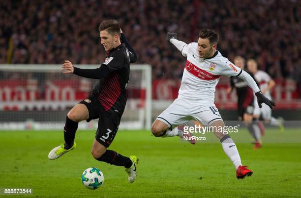 Leverkusens Panagiotis Retsos in a duel with Stuttgarts Anastasios Donis during the Bundesliga match between VfB Stuttgart and Bayer 04 Leverkusen at...