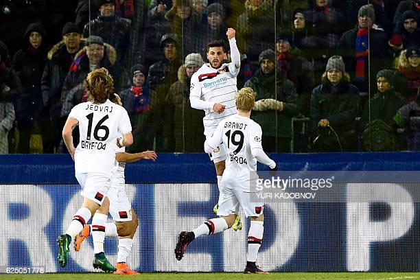 Leverkusen's players celebrate a goal during the UEFA Champions League football match between PFC CSKA Moscow and Bayer 04 Leverkusen at the CSKA...