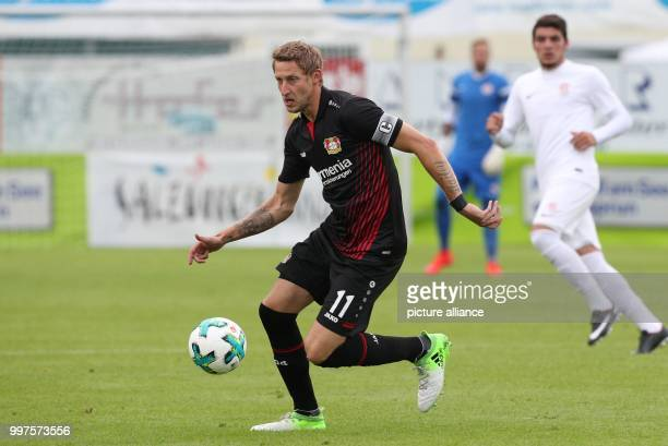 Leverkusen's Stefan Kiessling plays the ball during the friendly match between Bayer Leverkusen and Antalyaspor in Zell am See Austria 27 July 2017...
