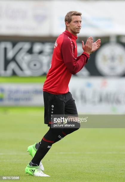 Leverkusen's Stefan Kiessling warms up before the friendly match between Bayer Leverkusen and Antalyaspor in Zell am See Austria 27 July 2017 Photo...