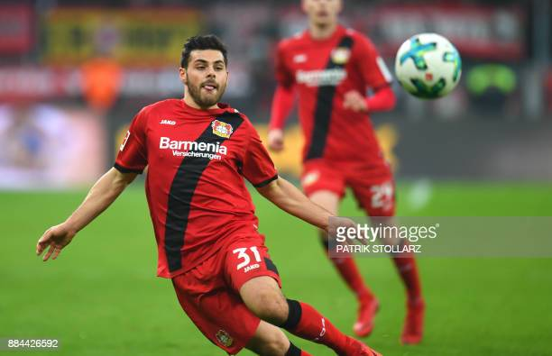 Leverkusen´s striker Kevin Volland follows the ball during the German First division Bundesliga football match Bayer Leverkusen vs Borussia Dortmund...