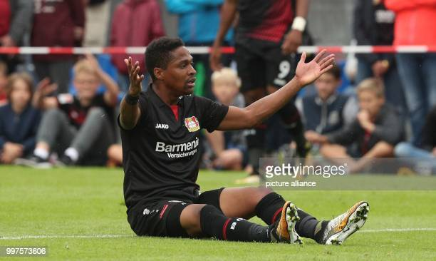 Leverkusen's Wendell sits on the ground during the friendly match between Bayer Leverkusen and Antalyaspor in Zell am See Austria 27 July 2017 Photo...