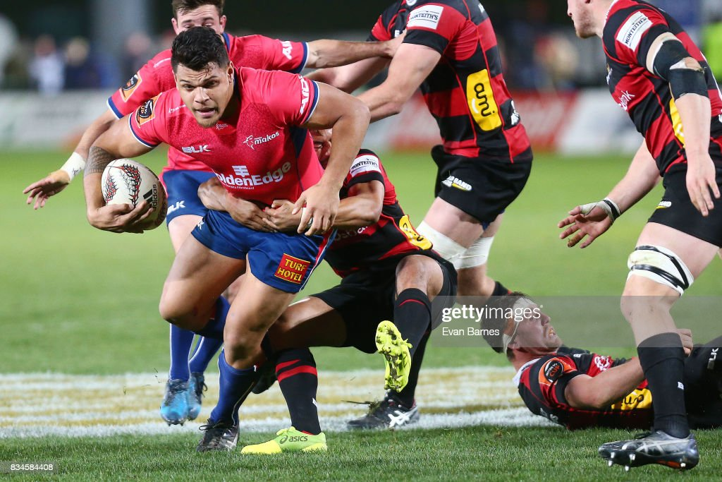 Levi Aumua of Tasman is tackled during the during the Mitre 10 Cup round one match between Tasman and Canterbury at Trafalgar Park on August 18, 2017 in Nelson, New Zealand.