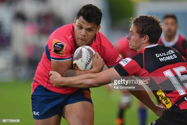 Levi Aumua of Tasman runs through to score a try during the Mitre 10 Cup Premiership Final match between Canterbury and Tasman at AMI Stadium on...