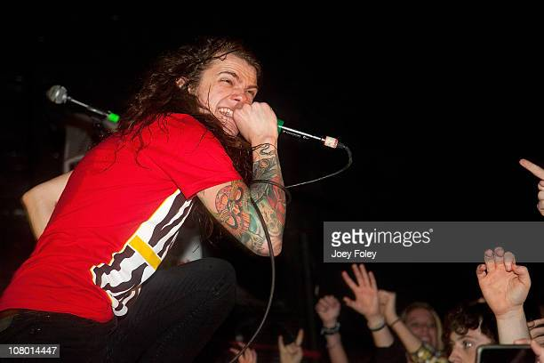 Levi Benton of Miss May I performs in concert in front of a soldout crowd at The Emerson Theater on January 11 2011 in Indianapolis Indiana