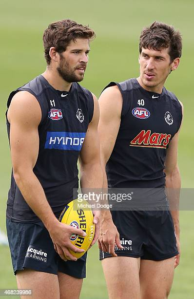 Levi Casboult lines up for goal as Michael Jamison tries to distract him during a Carlton Blues AFL training session at Ikon Park on April 1 2015 in...