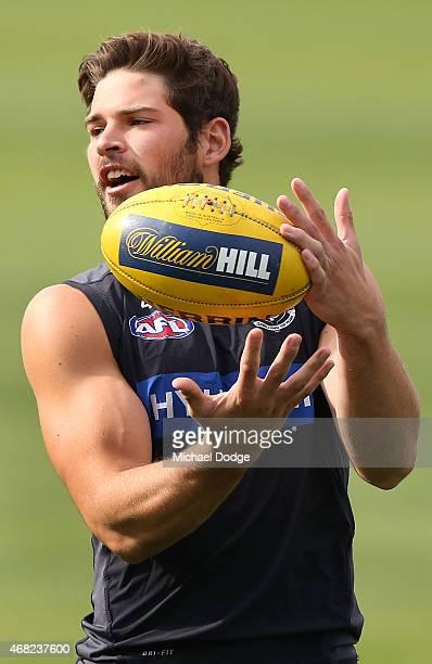 Levi Casboult marks the ball during a Carlton Blues AFL training session at Ikon Park on April 1 2015 in Melbourne Australia