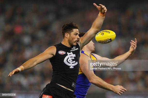 Levi Casboult of the Blues and Jeremy McGovern of the Eagles contest the ball during the round five AFL match between the Carlton Blues and the West...