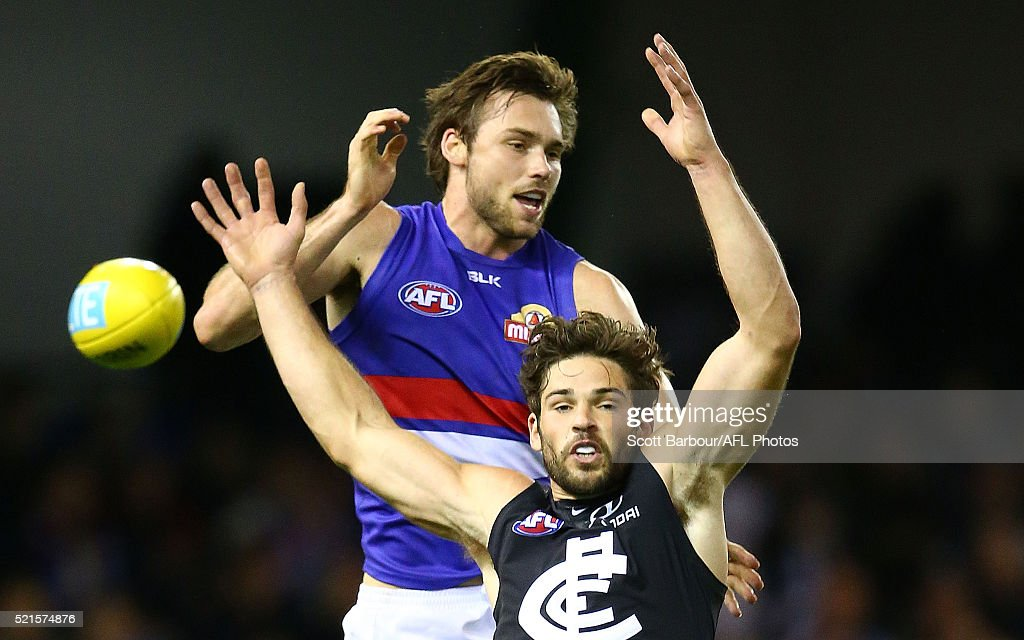 Levi Casboult of the Blues and Joel Hamling of the Bulldogs compete for the ball during the round four AFL match between the Carlton Blues and the Western Bulldogs at Etihad Stadium on April 16, 2016 in Melbourne, Australia.