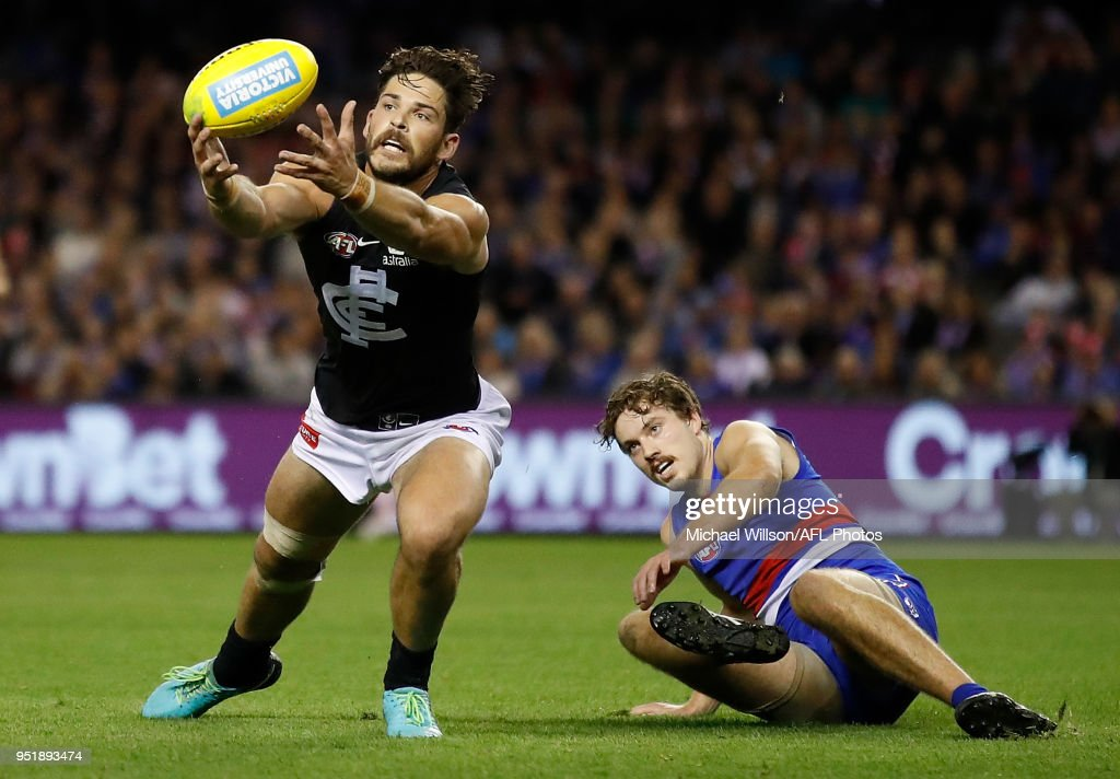 Levi Casboult of the Blues and Zaine Cordy of the Bulldogs in action during the 2018 AFL round six match between the Western Bulldogs and the Carlton Blues at Etihad Stadium on April 27, 2018 in Melbourne, Australia.