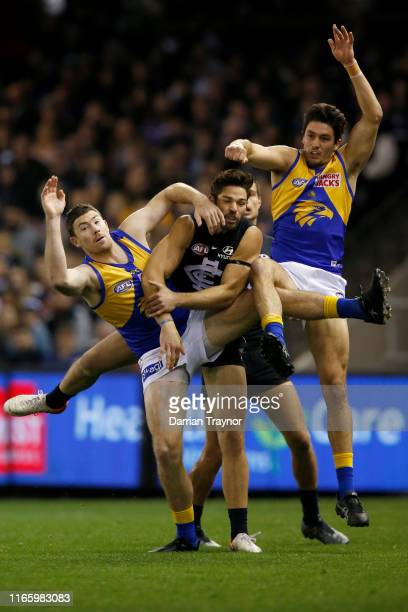 Levi Casboult of the Blues attempts to mark trhe ball during the round 20 AFL match between the Carlton Blues and the West Coast Eagles at Marvel...