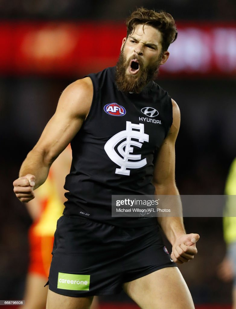 Levi Casboult of the Blues celebrates a goal during the 2017 AFL round 04 match between the Carlton Blues and the Gold Coast Suns at Etihad Stadium on April 15, 2017 in Melbourne, Australia.