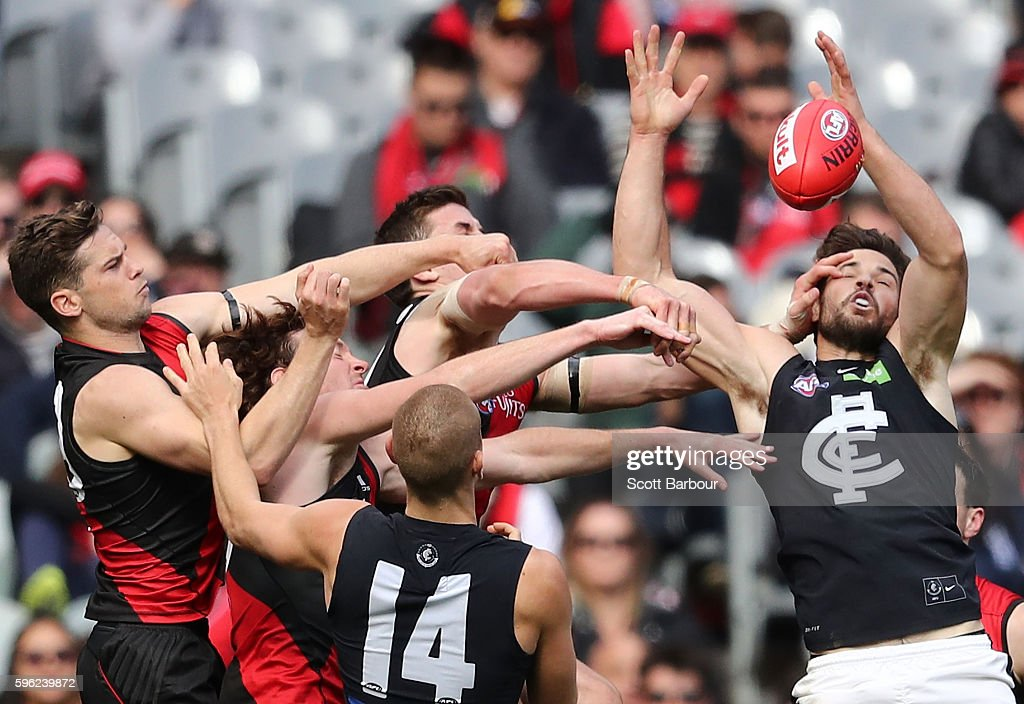 Levi Casboult of the Blues competes for the ball during the round 23 AFL match between the Essendon Bombers and the Carlton Blues at Melbourne Cricket Ground on August 27, 2016 in Melbourne, Australia.