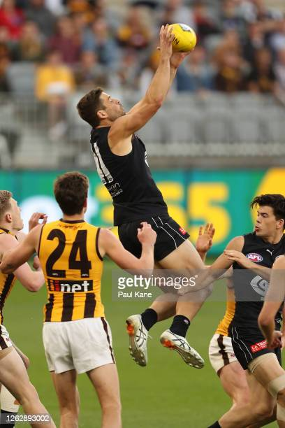 Levi Casboult of the Blues marks the ball during the round nine AFL match between the Carlton Blues and the Hawthorn Hawks at Optus Stadium on July...