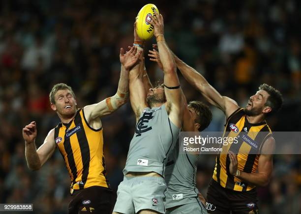 Levi Casboult of the Blues takes a mark during the JLT Community Series AFL match between the Hawthorn Hawks and the Carlton Blues at the University...