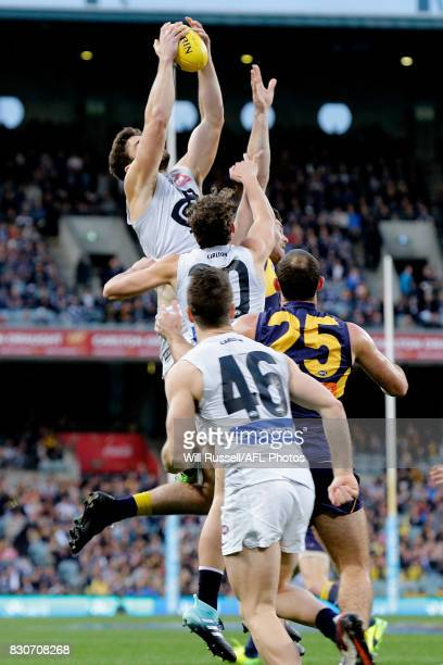 Levi Casboult of the Blues takes an overhead mark during the round 21 AFL match between the West Coast Eagles and the Carlton Blues at Domain Stadium...