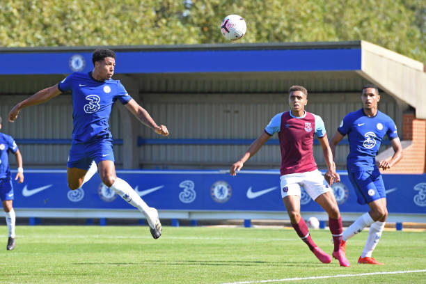 Levi Colwill of Chelsea heads awards goal during the Chelsea v West Ham Premier League 2 match at Kingsmeadow on September 14, 2020 in Kingston upon...