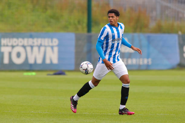 Levi Colwill of Huddersfield Town during the match between Huddersfield Town and Harrogate Town at Canalside on July 11, 2021 in Huddersfield,...