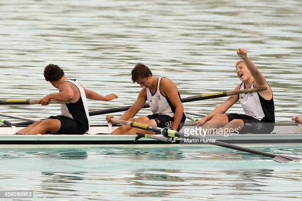 Levi Dick, Max Dawson and Sam Hurley of Invercargill celebrate winning the mens coxed four during the 2013 Meridian Otago Championships at Lake...