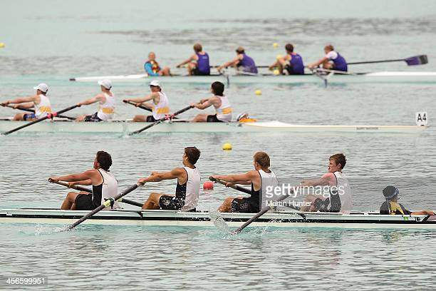 Levi Dick, Max Dawson, Sam Hurley and Hamish Twaites of Invercargill win the mens coxed four during the 2013 Meridian Otago Championships at Lake...