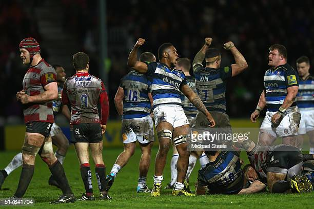 Levi Douglas of Bath celebrates at the final whistle during the Aviva Premiership match between Gloucester and Bath at Kingsholm on March 26, 2016 in...