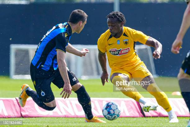 Levi Garcia of AEK Athens, Federico Ricca of Club Brugge during the friendly match between Club Brugge and AEK Athene at Complex Molenhoek on July 9,...