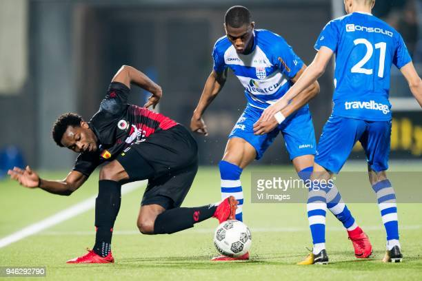 Levi Garcia of sbv Excelsior Kingsley Ehizibue of PEC Zwolle Younes Namli of PEC Zwolle during the Dutch Eredivisie match between PEC Zwolle and sbv...