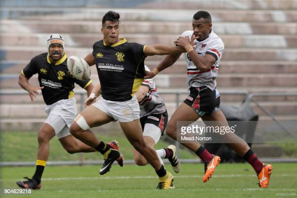 Levi Harmon during the Bayleys National Sevens match between Wellington and North Harbour at Rotorua International Stadium on January 14 2018 in...