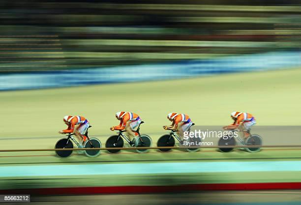 Levi Heimans GeertJan Jonkman Arno Van der Zwet and Sipke Zijlstra of The Netherlands ride in the Men's Team Pursuit during the UCI Track Cycling...