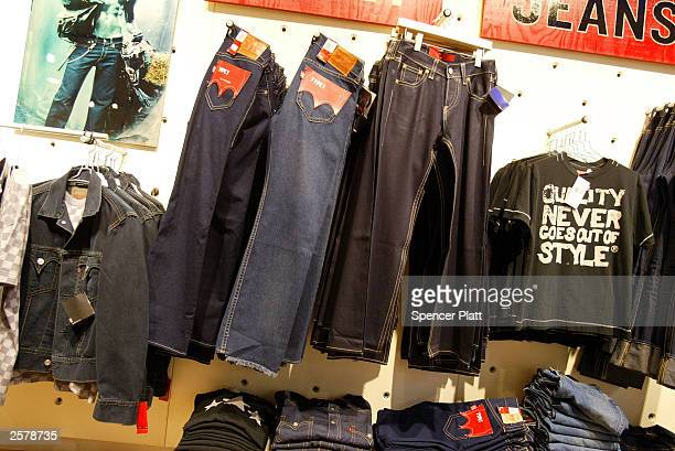 Levi jeans hang on display at a Levis store October 10 2003 in New York City The jeans maker Levi Strauss Co has revealed an improper tax deduction...