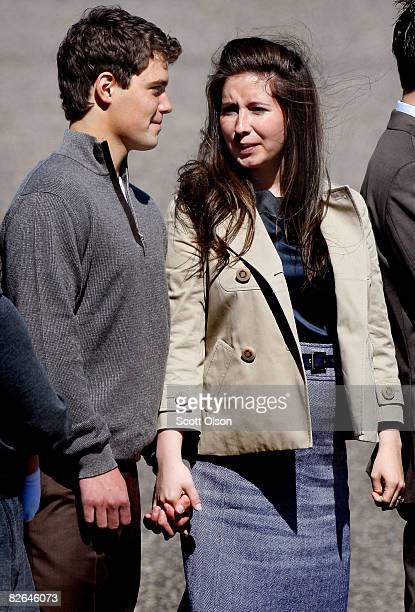 Levi Johnston and his girlfriend Bristol Palin the daughter of vice presidential candidate and Alaska Gov Sarah Palin wait to greet presumptive...