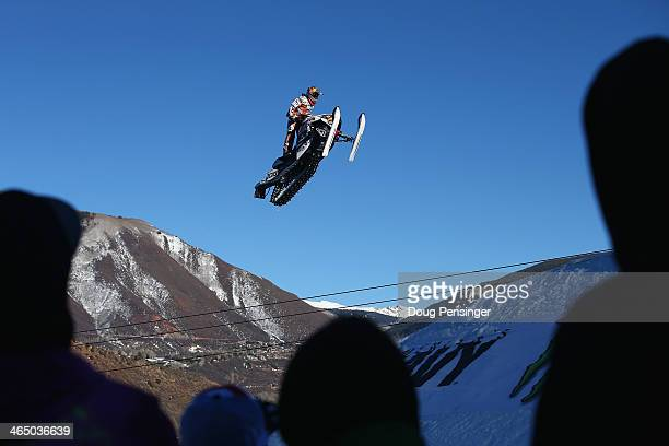 Levi LaVallee soars above the spectators as he wins the Snowmobile Long Jump at Winter XGames 2014 Aspen at Buttermilk Mountain on January 25 2014 in...