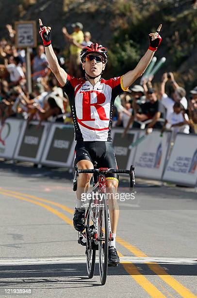Levi Leipheimer of Team Radioshack celebrates as he wins stage one to earn the yellow jersey during the 2011 USA Pro Cycling Challenge from Salida to...