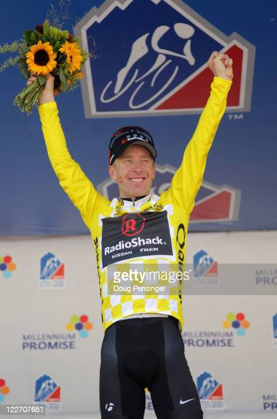 Levi Leipheimer of the USA riding for Team Radioshack takes the podium following stage six as he defended the overall leader's jersey and won the...