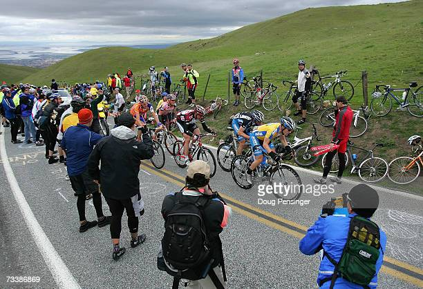 Levi Leipheimer of USA riding for Discovery Channel Pro Cycling Team leads the final selection up the climb of Sierra Road in Stage 3 of the AMGEN...