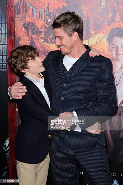 Levi Miller and Garrett Hedlund attend the 'Pan' premiere at Ziegfeld Theater on October 4 2015 in New York City