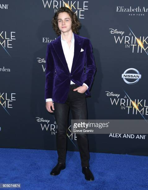 Levi Miller arrives at the Premiere Of Disney's 'A Wrinkle In Time' on February 26 2018 in Los Angeles California