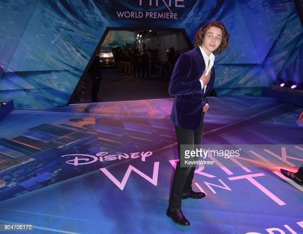 Levi Miller attends the premiere of Disney's 'A Wrinkle In Time' at the El Capitan Theatre on February 26 2018 in Los Angeles California