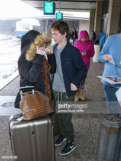 Levi Miller is seen at Salt Lake International Airport on January 21 2017 in Salt Lake City Utah
