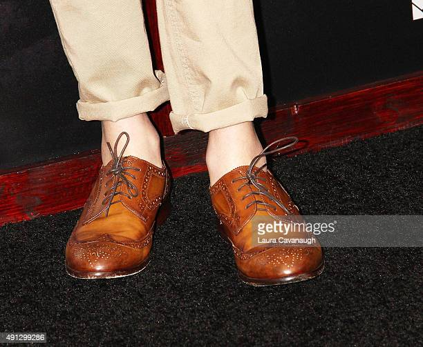 Levi Miller shoe detail attends the Pan New York Premiere Outside Arrivals at Ziegfeld Theater on October 4 2015 in New York City