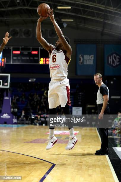 Levi Randolph of the Canton Charge shoots the ball against the Greensboro Swarm on January 21 2019 at Greensboro Coliseum Fieldhouse in Greensboro...