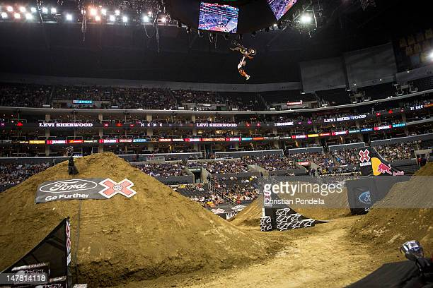 Levi Sherwood of New Zealand during Moto X Freestyle Finals at the X Games Los Angeles 2012 at Staples Center June 28 2012 in Los Angeles California