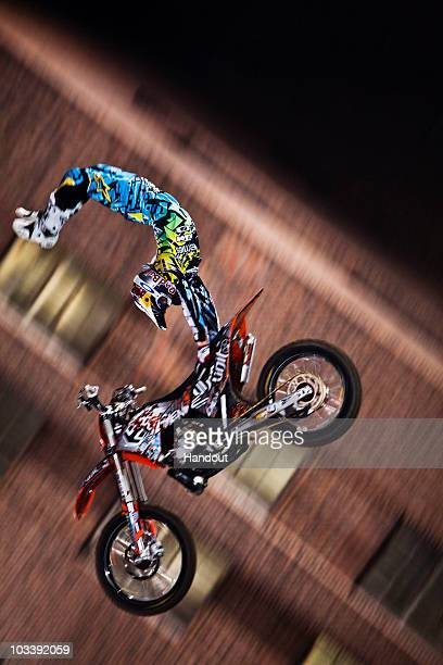 Levi Sherwood of New Zealand performs during the final of the fifth stage for the Red Bull XFighters world tour stop in front of Battersea Power...
